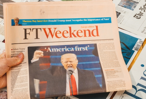 JAN 21, 2017: FT headlines after inauguration of Donald Trump in Washington D.C. Photo: ifeelstock