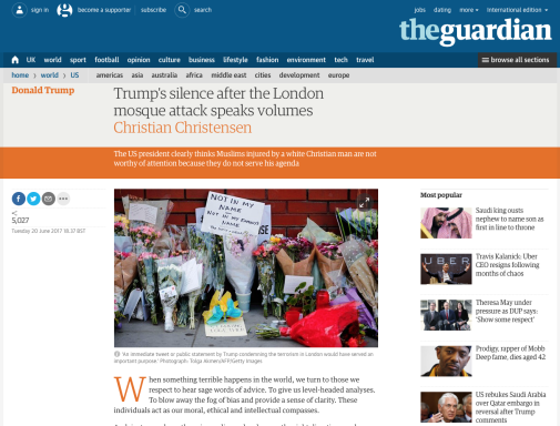 Screen shot of The Guardian web page