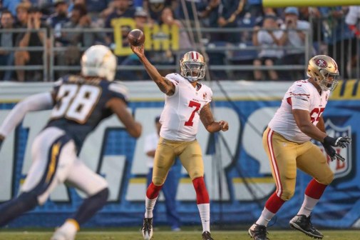 49ers Kaepernick (#7) in action vs Chargers Photo: © media.49ers.com
