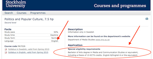 Course catalogue - eligibility requirements