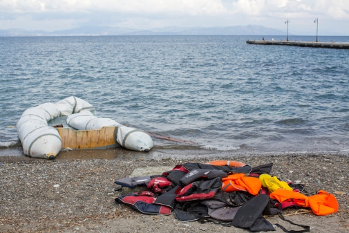 Abandoned boat and life jackets, Kos, Greece Photo: Berkut