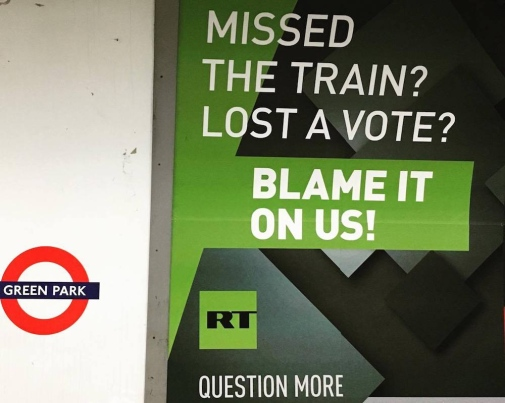 Russia Today ad in London's subway. Photo: Liudmila Cernat © 2017