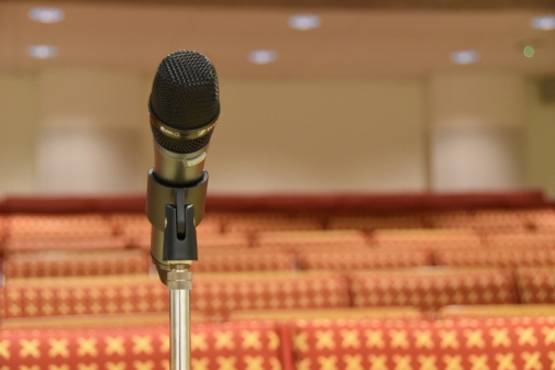 Microphone in the lecture hall JMK-salen, Department of Media Studies Photo: Svante Emanuelli © 2018