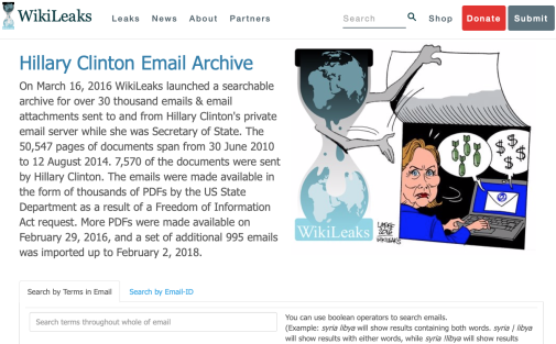 Screenshot Photo: Wikileaks.org © 2019