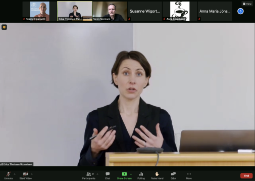 STOCKHOLM, February 5, 2021 Erika Theissen Walukiewicz defending her thesis. Photo: Screen Shot Zoom
